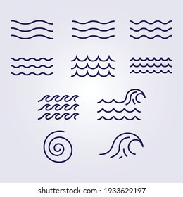 various wave water lake river logo vector illustration, bundle set collection package design