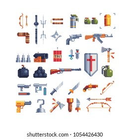 Various weapons flat pixel art 80s style icons set grenade, cannon, bomb, sword, revolver, TNT, gun, bow, arrow isolated vector illustration. Design for sticker, mobile app and logo. Game assets 8-bit
