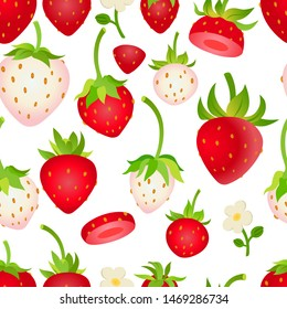 Various white and red strawberries on whte background seamless pattern