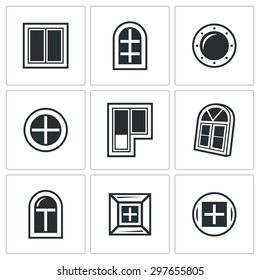 Various window icons set. Vector Illustration.  Isolated Flat Icons collection on a white background for design