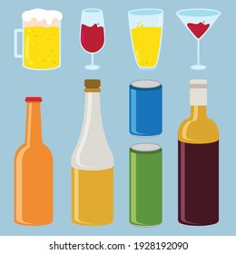 Various wine bottle and glass collection to make poster