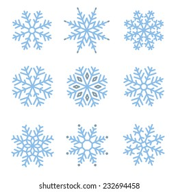 Various winter snowflakes vector set
