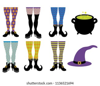 Various witch leg designs with different fun patterns. Eight different icons in total, mix and match shoes and stockings!