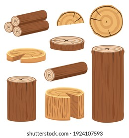Various wood logs and trunks collection to make poster decoration
