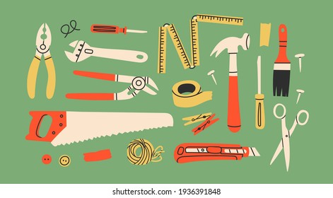 Various working Tools. Different instruments. Construction, Building, repair concept. Screwdriver, saw, brush, hammer, knife, scissors, wrench, etc. Hand drawn Vector set. All elements are isolated