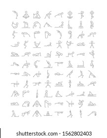 Various Yoga Icon Set In Vector Thin Outline With Editable Strokes. Stick Man Figures Poses