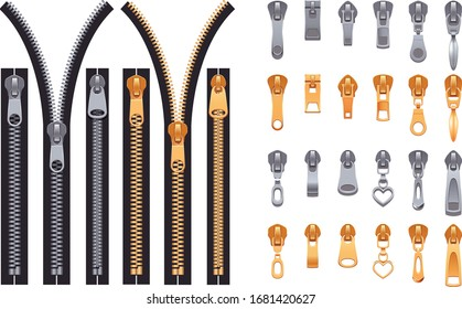 various zipper patterns are used for textile