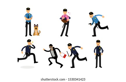 Variuos Daily Actions Of The Police Department And The Dog Service Vector Illustration Set
