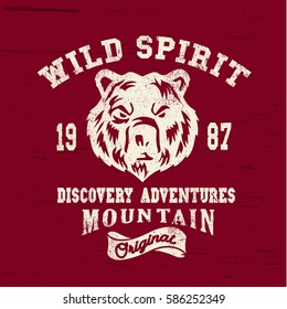 Varsity bear graphics. Graphics print.Vintage Denim print for t-shirt or apparel. Old school vector graphic for fashion and printing. Retro artwork and typography
