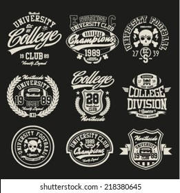 Varsity College vector label and print set.