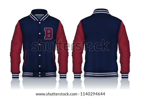 Varsity Jacket Design,Sportswear Track front and back view.