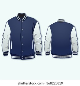 Varsity jacket front and back template. Vector.