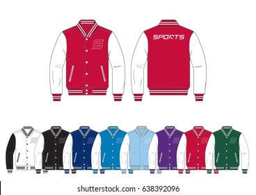 Varsity Jacket // front and back views with team wear colors