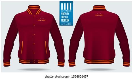 Varsity  jacket mockup template design for soccer, football, baseball, basketball, sports team or university. Front view and back view for jacket uniform. Vector Illustration.