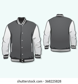 Varsity jacket template front and back. Vector.