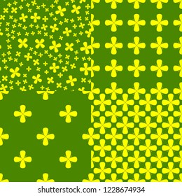 Vasant Panchami. Concept Indian religious festival. 4 seamless patterns with mustard flowers