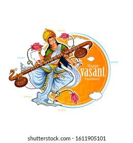 Vasant Panchami, illustration of Goddess of Wisdom Saraswati