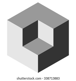 Vasarely cube in shades of grey, logo design element, optical illusion