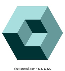 Vasarely cube in teal shades, logo design element, optical illusion, vector illustration