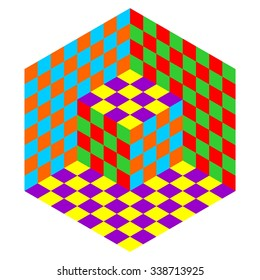 Vasarely cube vector in pop art colors, optical illusion