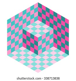 Vasarely cube vector in shades of aqua and pink, optical illusion