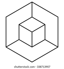 Vasarely cube wireframe, logo design element, optical illusion