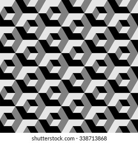Vasarely cubes pattern, seamless geometric pattern in shades of grey, optical illusion