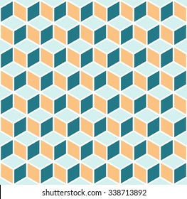 Vasarely cubes pattern, seamless geometric pattern in three colors