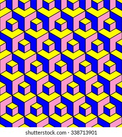 Vasarely cubes pattern, seamless geometric pattern in three colors, optical illusion