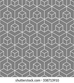 Vasarely cubes pattern, seamless geometric pattern, optical illusion