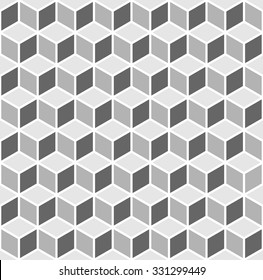 Vasarely cubes pattern in shades of grey, seamless geo pattern