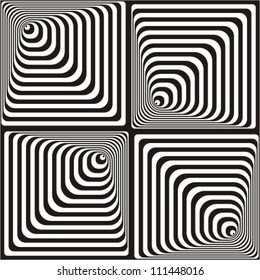Vasarely effect. Optical Illusion. Black and white vector illustration.