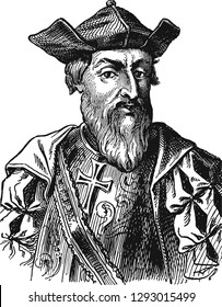 Vasco da Gama (1460-1524) portrait in line art illustration. He was a Portuguese explorer and the first European who reached India by sea, rounded the Cape of Good Hope and sailed to Calicut in 1498.