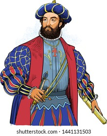 Vasco da Gama portrait in line art illustration. He was a Portuguese explorer and the first European sailor to navigate a route to the East and India through the Cape of Good Hope.