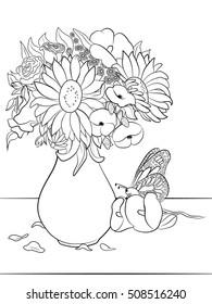 vase flowers coloring page adults 260nw