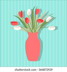 vase of flowers flat Icon/vase flat  Icon Vector in flat style/vase Icon/flowers flat Icon/vase flat/vector illustration/flowers flat