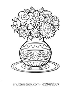 vase of flowers with geometric ornament standing on round napkin black and white outline vector