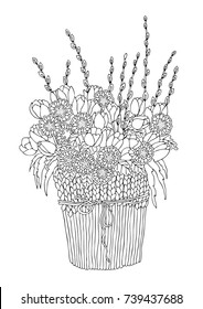 vase flowers hand drawn picture 260nw