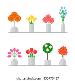 Vase of flowers isolated set on white background. Colorful flowers bouquets. Flat style vector illustration.