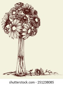 Vase of flowers, wedding bouquet sketch retro style