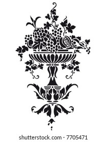 Vase with grapes - vector