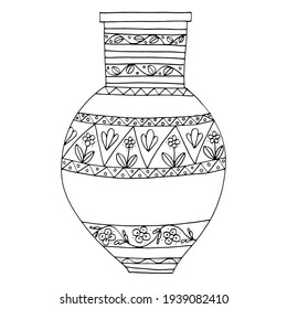 Vase, Greek jug. Crockery with anti-stress pattern. Handmade graphics. Coloring book for children and adults. Black and white. Isolate. For textiles, anti-stress, design. Stock graphics.