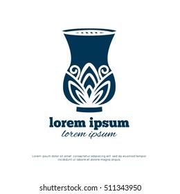 vase. Logo design. monochrome flat silhouette.