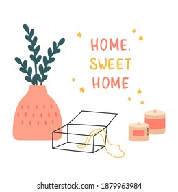 Vase with plant, aroma candles and jewelry box.Cozy home interior.Template for greeting, congratulations, invitations, stickers, vector icon, flat illustration. Xmas card, poster. Home, sweet home.