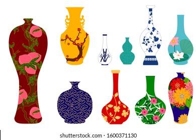 Vase set. Chinese porcelain vase, ceramic vase, antique pottery vase with landscape painting. Oriental decorative elements collection of vases for your interior design. Great for Asia background.
