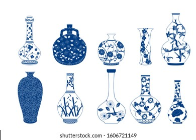 Vase set. Chinese porcelain vase, ceramic vase, antique blue and white pottery vase with landscape painting. Oriental decorative elements collection of vases for your interior design.
