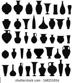Vase set. Pot Pottery Vases Flower Home Interior Decoration. Vector icon collection.