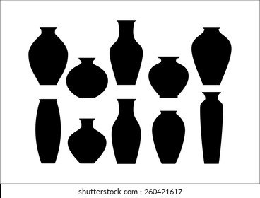 Vase set. Pottery Vases Flower Home Interior Decoration. Vector icon collection.