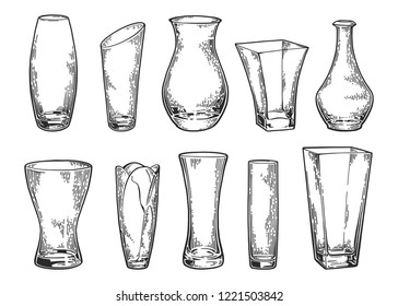 Vase set. Various forms of glass vases. Home interior decoration. Vector engraved vintage illustration isolated on white background