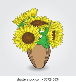 Vase with sunflower bouquet. Vector illustration